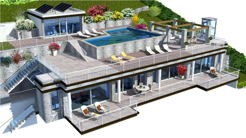 Attico con piscina e vista isole Borromee